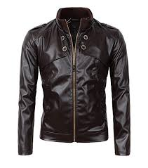 Beninos Men's Slim Fit Stand Up <b>Collar Faux Leather</b> Jacket at ...