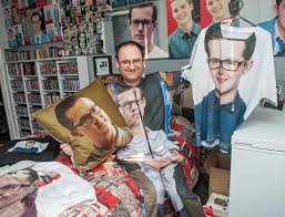 eastenders fan shaun smith has decked out his flat with pictures of his favourite character ben office fan