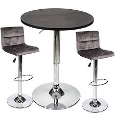 <b>3 Piece Bar</b> Table Stools Set - Height Adjustable Table with Swivel ...