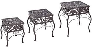 Outsunny <b>3</b> Piece Decorative Metal Outdoor <b>Plant Stand Set</b> ...
