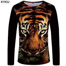 <b>KYKU Brand Tiger</b> T shirt Men Long sleeve shirt Galaxy Rock ...