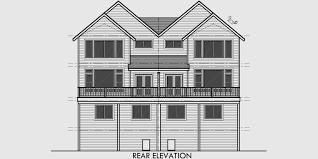 Craftsman Duplex House Plans  Luxury Townhouse Plans  BedroomHouse side elevation view for D  Craftsman duplex house plans  luxury townhouse plans