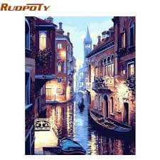 RUOPOTY <b>Frame Venice Landscape DIY</b> Painting By Numbers Kit ...