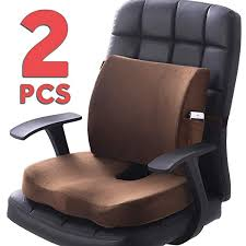 Back Pain Relief - Seat Cushion Black-Set Sciatica <b>Coccyx</b> ...