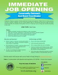 job opening community outreach event coordinator part time job ads