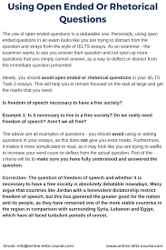 using open ended or rhetorical questions for the ielts exam using open ended or rhetorical questions for the ielts exam ielts online preparation course training coaching tuition study