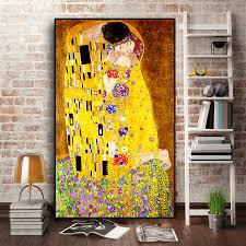 <b>Classic</b> Artist <b>Gustav Klimt kiss</b> Abstract Oil Painting on Canvas Print ...