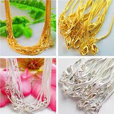 Wholesale 5/10Pcs Silver/Gold Plated <b>1mm Snake Chain</b> Lobster ...