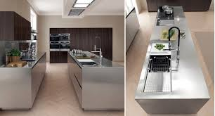 contemporary kitchen stainless steel island filofree steel euromobil spa antis fusion fitted kitchens euromobil