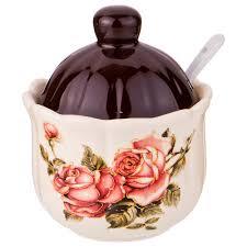 <b>Керамическая сахарница</b> корейская роза <b>280 мл</b> 10*10*12 см ...