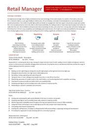 retail manager cv template  resume  examples  job descriptionretail manager cv