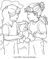 Small Picture Sharing With Others Bible Coloring Sheet Sharing Downlload