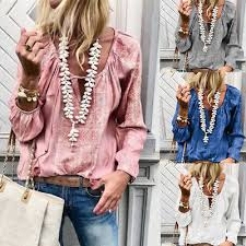 Women Long Sleeve Cotton Linen Tassel <b>Bandage</b> T-Shirt Blouse ...