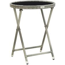 <b>Tea Table Grey 60</b> cm Poly Rattan and Tempered Glass -