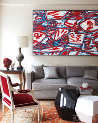 decor red blue room full: elle decor red white and blue chic in a new york city home designed by robert couturier a jean dubuffet painting is displayed above the living room sofa