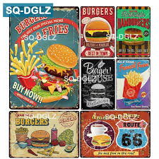[SQ DGLZ] BURGERS & FRIES <b>Metal Sign Bar Wall</b> Decoration Tin ...