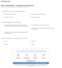 quiz worksheet antigone by sophocles study com how does antigone practice civil disobedience