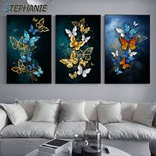 Abstract Golden Blue <b>Butterfly Wall</b> Art Modern Wall <b>Pictures For</b> ...
