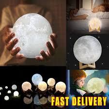 <b>3D</b> Moon Lamp USB <b>LED Night Light</b> Moonlight Gift Touch Sensor ...