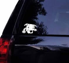 tshirt rocket pitbull decal peeking peek a boo pit face bull dog car decal laptop window sticker 7 white
