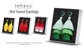 hefanny Colorful <b>Layered</b> Tassel Earrings <b>Bohemian 3</b> Tiered Big ...