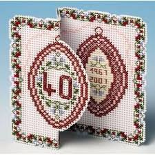 <b>Golden Flowers</b> Christmas Card <b>3D</b> Cross Stitch Kit | Perforated ...