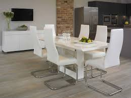 metal dining room chairs chrome: rectangle white dining table also modern white dining chairs and metal