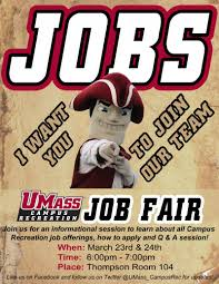 calendar of events campus recreation job fair and informational session for summer fall employment