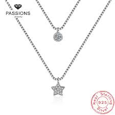 <b>New Arrival 925 Sterling</b> Silver Double Layers Necklace With Star ...