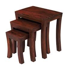 Part <b>Solid Wood</b> Nest of Side Table Nesting Tables <b>Sheesham</b> 3