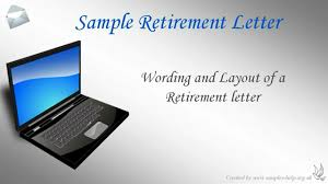 sample retirement letter of resignation