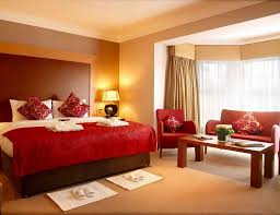 room paint red: color  calmly red bedding set along with neutral wall color along with romantic bedroom interior design using decorating ideas bedroom wall colors