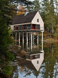Waterfront House Plans Stilts Home Design Ideas  Pictures  Remodel    Photo of a rustic exterior in Portland Maine   wood siding