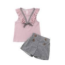 <b>Toddler Baby Girl</b> Sleeveless Tops Plaid Button <b>Summer</b> Shorts Set