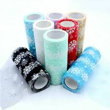 <b>Snowflake Tulle Organza</b> Sheer Fabric Craft <b>Tutu</b> Christmas Theme ...