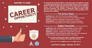 pre school head subject specialist png careers