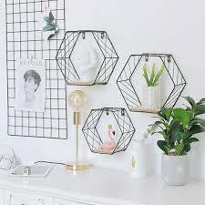 <b>Iron Hexagonal Grid Wall</b> Shelf Wall Hanging Decoration Rack ₱419