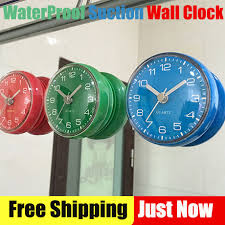 small bathroom clock: creative bathroom waterproof wall clock waterproof sucker wall clock round mini sucker small wall clock