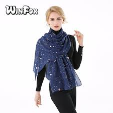 <b>Winfox 2019 New Fashion</b> Navy Star Moon Foil Gold Glitter Echarpe ...