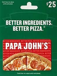 Papa John's Pizza $25 Gift Card: Gift Cards - Amazon.com