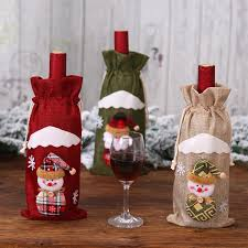 1x Red Wine Bottle Cover Bags <b>Snowman</b>/<b>Santa</b> Claus <b>Christmas</b> ...