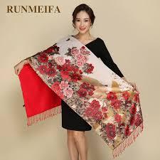 RUNMEIFA Pastoral <b>Style</b> Pashmina Two Sides <b>Wear Women</b> ...