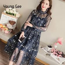 2019 <b>Young Gee Women Spring</b> Autumn Sexy Sheer O Neck Lace ...