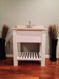 open bathroom vanity cabinet: quot open shelf bath vanity sink cabinet modern slatted shelf rustic