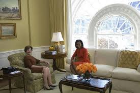 Eyeballing the White House Presidential ResidenceMrs  Laura Bush and Mrs  Michelle Obama sit in the private residence  West Sitting Room  of the White House Monday  Nov