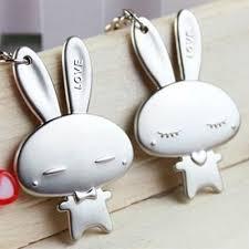 1 Pair <b>Cute Cartoon</b> Rabbit Bunny Key Chains <b>Couple Keyring</b> ...