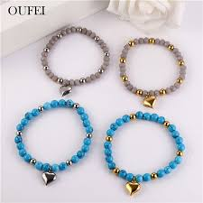 2019 <b>OUFEI Stainless Steel Jewelry</b> Woman Charms Blue Heart ...