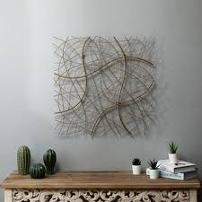 Shop Large <b>Gold Abstract</b> Square Metal Wall Decor - Overstock ...