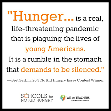 Congrats to Bret Serbin  winner of the  NoKidHungry essay contest  Click to see Pinterest