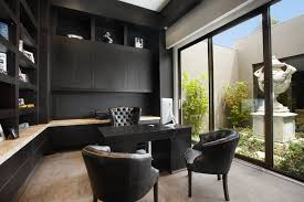 borell street melbourne victoria australia trendy home office photo in melbourne with black walls carpet and amazing gray office furniture 5